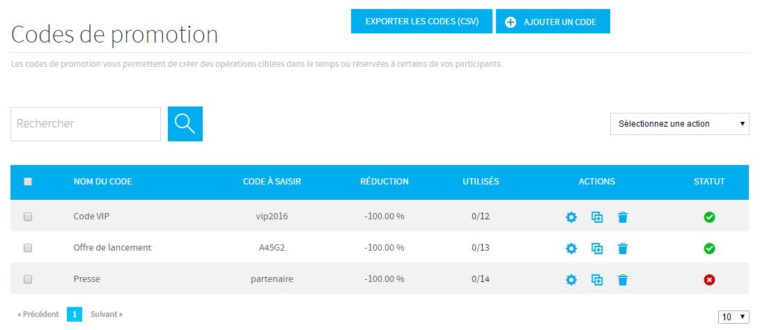 écran de configuration des codes promo weezevent