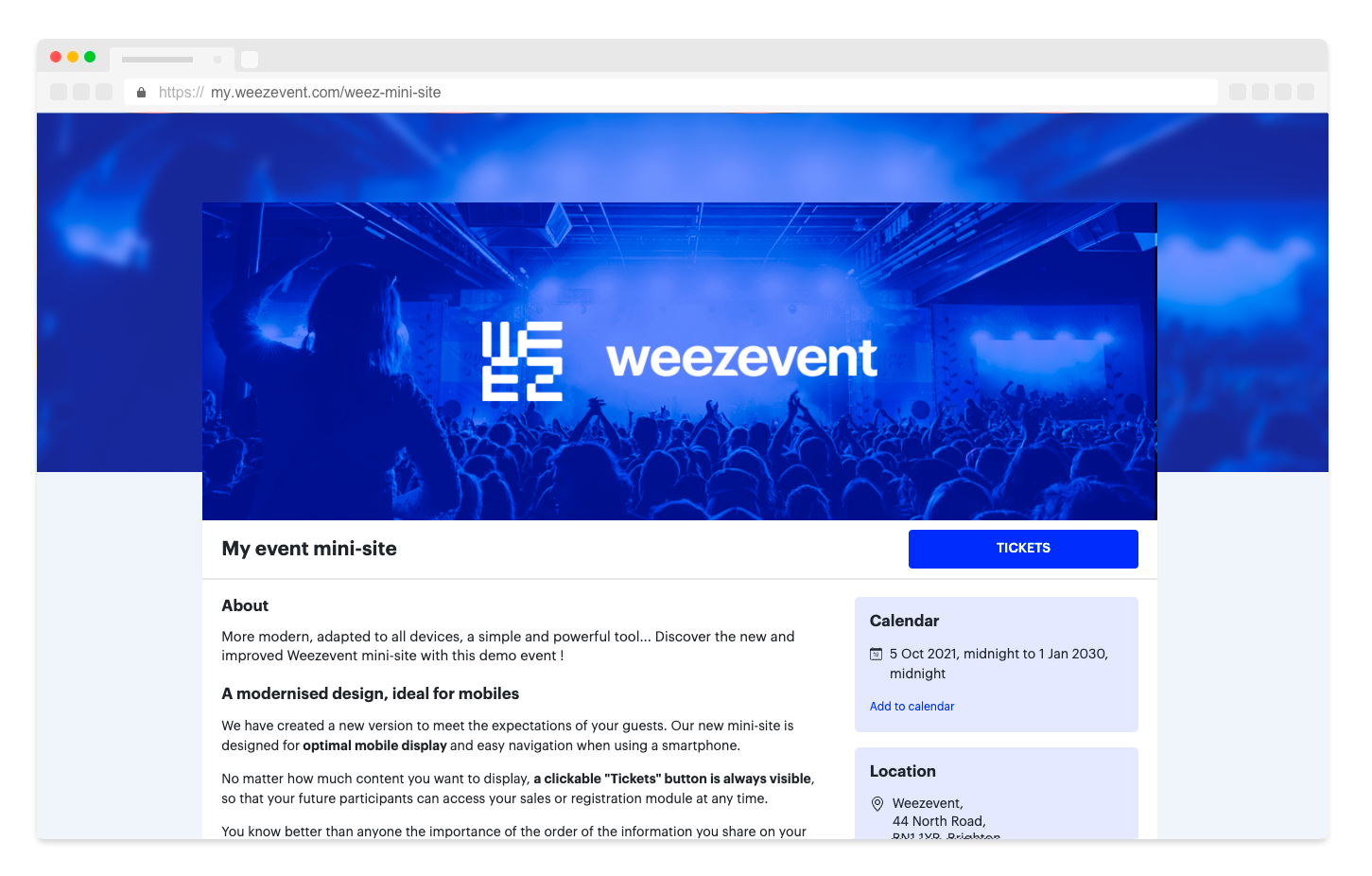 Discover the new mini-sites for your events